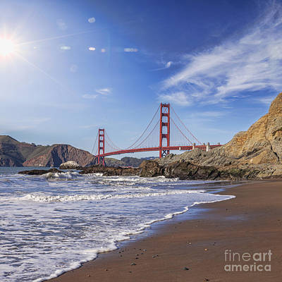 Golden Gate Bridge With Sun Flare Art Print by Colin and Linda McKie