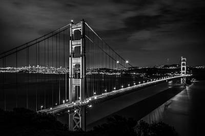 Photograph - Golden Gate Evening- Mono by Linda Villers