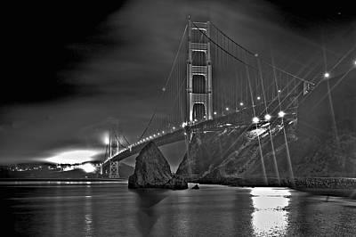 Photograph - Golden Gate In Black And White by SC Heffner