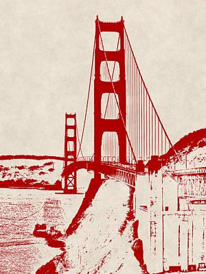 Rocky Coast Digital Art - Golden Gate In Orange by Daniel Hagerman