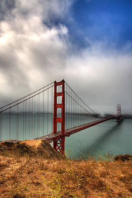 Hdr Landscape Photograph - Golden Gate In The Clouds by Peter Tellone