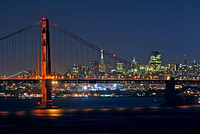 Art Print featuring the photograph Golden Gate Night 10-26-10 by Christopher McKenzie