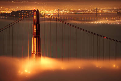 Golden Photograph - San Francisco - Golden Gate On Fire by Francesco Emanuele Carucci