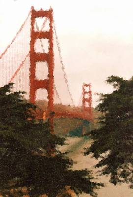 Digital Art - Golden Gate Sf Painting by Asbjorn Lonvig
