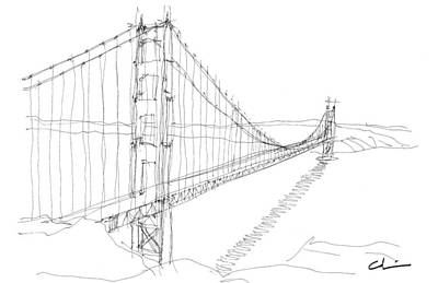 Golden Gate Sketch Art Print by Calvin Durham