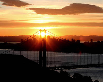 Art Print featuring the photograph Golden Gate Sunrise 12-2-11 by Christopher McKenzie