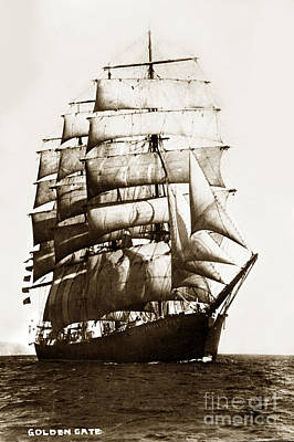 Photograph - Golden Gate Tall Ship Circa 1905 by California Views Mr Pat Hathaway Archives