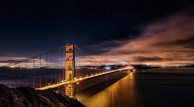 California Seascape Photograph - Golden Gate To Stars by Javier De La