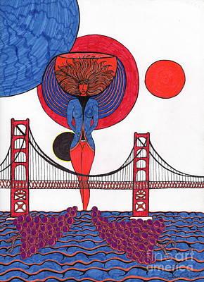 Golden Gate Wine Diva-goddess Art Print by Michael Friend