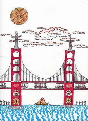 Golden Gate With Wind Power Art Print by Michael Friend