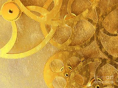Golden Gears Background Art Print by Tomislav Zivkovic