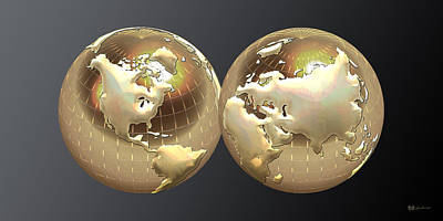 Color On Black Digital Art - Golden Globes - Eastern And Western Hemispheres On Black by Serge Averbukh