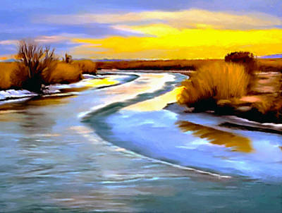 Painting - Golden Glow Frozen Bear River Utah by Bob and Nadine Johnston