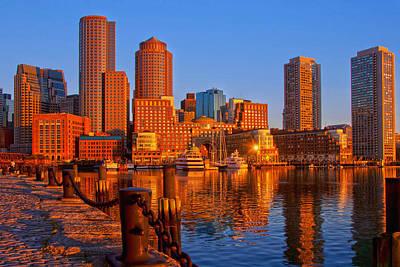 Boston Financial District Photograph - Golden Glow Over Boston Harbor by Joann Vitali
