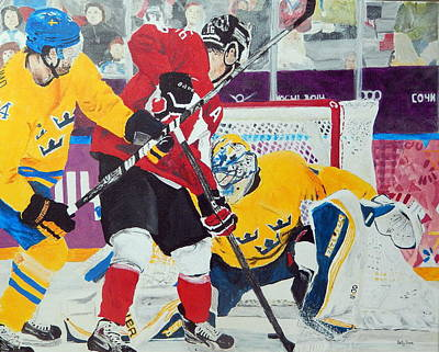 Hockey Painting - Golden Goal In Sochi by Betty-Anne McDonald