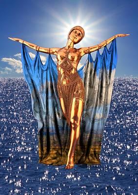 Digital Art - Golden Goddess by Ed Lukas