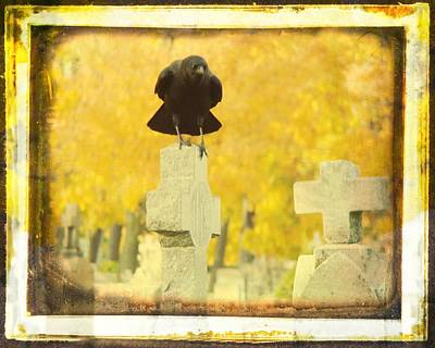 Birds In Graveyard Photograph - Golden Gothic by Gothicrow Images