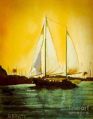 Water Media Painting - Golden Harbor  by Kip DeVore