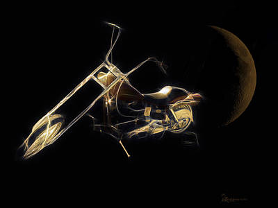 Photograph - Golden Harley Cycle-featured In Visions Of The Night And Comfortable Art Groups by Ericamaxine Price