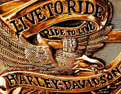 Golden Harley Davidson Logo Art Print by Chris Berry