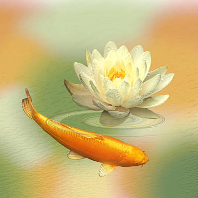 White Water Lilies Photograph - Golden Harmony Dreamscape - Square by Gill Billington