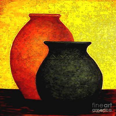 Aztec Pottery Painting - Golden Harvest  I by Joel Thompson