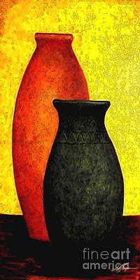 Aztec Pottery Painting - Golden Harvest 2 by Joel Thompson