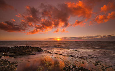Haiku Wall Art - Photograph - Golden Hawaii Sunset  by Tin Lung Chao