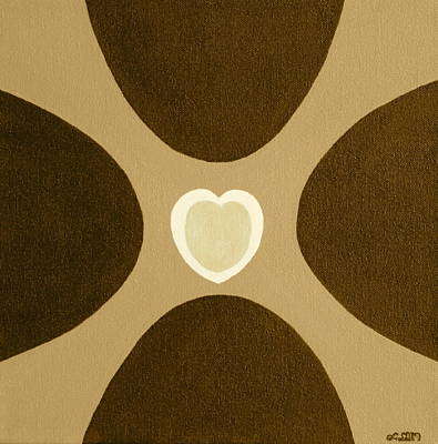 Golden Heart 3 Art Print by Lorna Maza