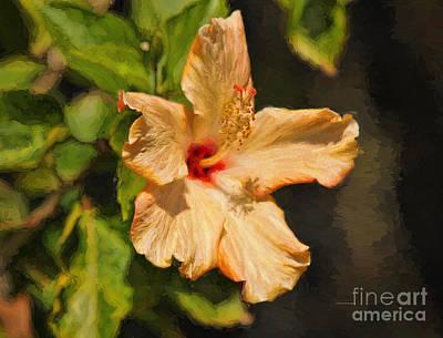 Morning Light Painting - Golden Hibiscus Morning by Deborah Benoit