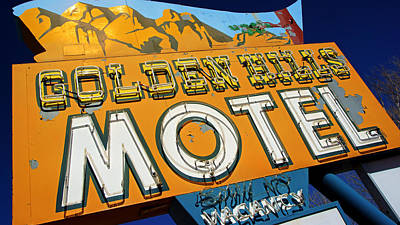 Photograph - Golden Hills Motel Neon Sign by Daniel Woodrum