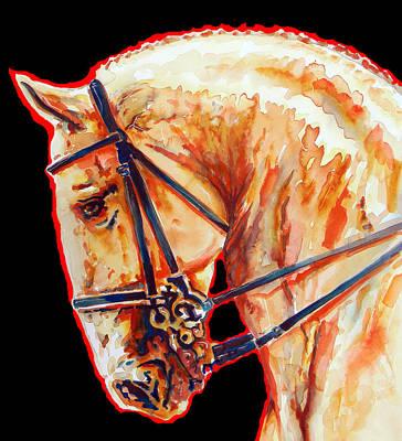 Golden Horse Portrait In Black 2 Art Print by J- J- Espinoza
