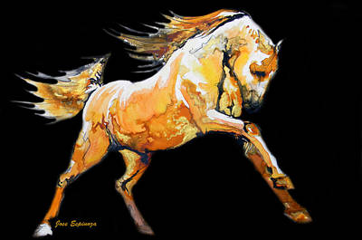 Dynamic Drawing - Golden Horse In Black by J- J- Espinoza