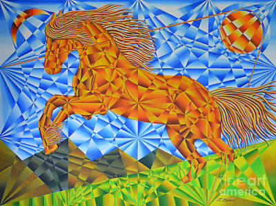 Golden Horse Over The Bitterroot's Art Print by Joseph J Stevens