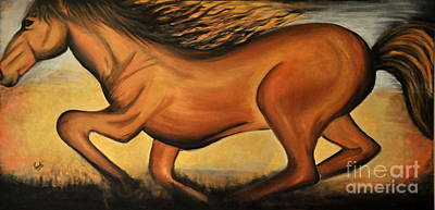 Painting - Golden Horse by Preethi Mathialagan