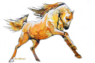 Dynamic Drawing - Golden Horse In White by J- J- Espinoza