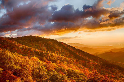 Photograph - Golden Hour Fall Morning On The Blue Ridge Parkway by John Haldane