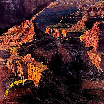 Photograph - Golden Hour Mather Point Grand Canyon National Park by Bob and Nadine Johnston