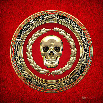 Digital Art - Golden Human Skull On Red   by Serge Averbukh