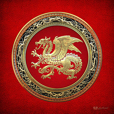 Digital Art - Golden Icelandic Dragon  by Serge Averbukh