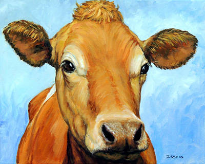 Jersey Cow Painting - Golden Jersey Cow On Blue by Dottie Dracos