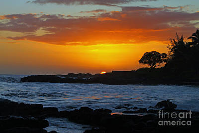 Photograph - Golden Kauai Sunset by Brian Governale