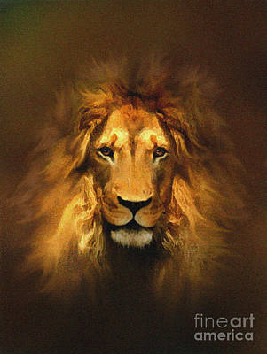 Yellow Cat Digital Art - Golden King Lion by Robert Foster