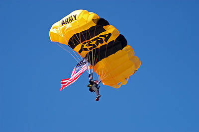 Us Flag Photograph - Golden Knights With Flag by Annette Redman
