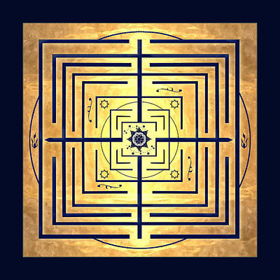 Digital Art - Golden Knowledge Labyrinth by Deborah Smith