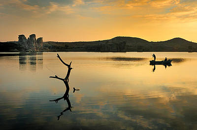 Golden Lake - 4 Art Print by Okan YILMAZ