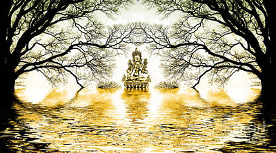 Golden Lake Of Stillness  Art Print by Tim Gainey
