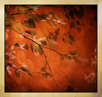 Art Print featuring the digital art Golden Leaves-1 by Nina Bradica