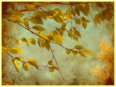 Art Print featuring the digital art Golden Leaves-2 by Nina Bradica