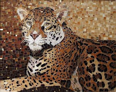 Mixed Media - Golden Leopard by Julie Mazzoni